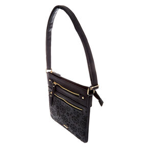 Filigree Cut Perforated Midi Crossbody Bag - Black,
