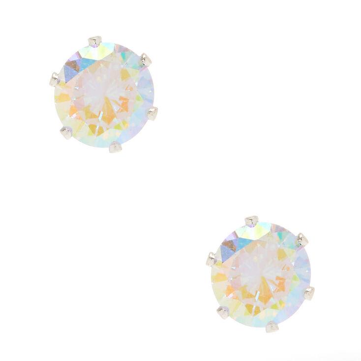 8MM Iridescent Cubic Zirconia Stud Earrings,