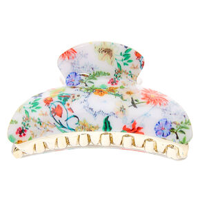 Antique Floral Hair Claw - White,