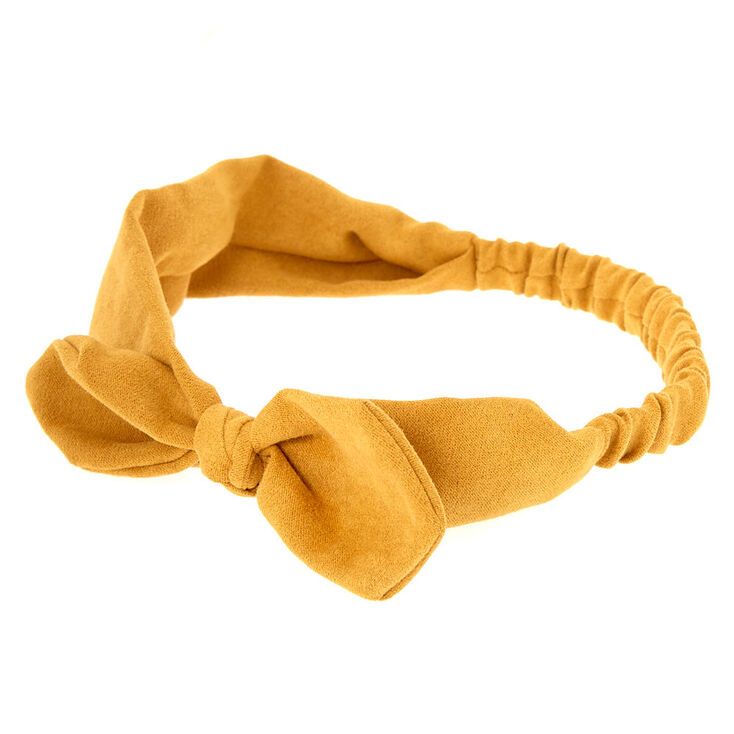 Suede Knotted Bow Headwrap - Mustard,