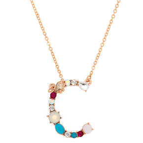 Embellished Long Initial Pendant Necklace - C,