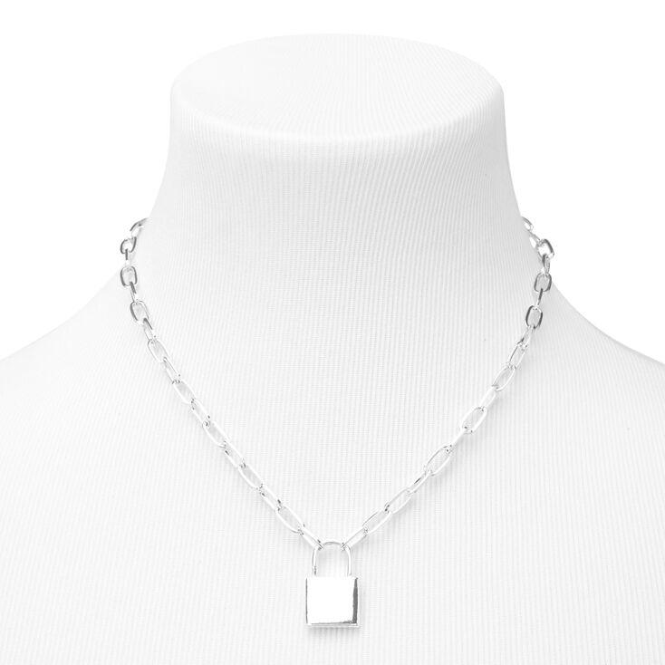 Silver Lock Pendant Chain Necklace,