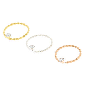 Sterling Silver Mixed Metal 22G Twisted Nose Rings - 3 Pack,