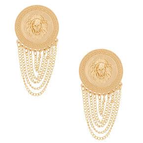 """Gold 2"""" Lion Chain Drop Earrings,"""
