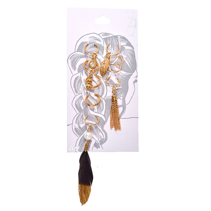 Gold Feather Hair Rings,