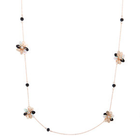 Rose Gold Sequin Flower Statement Necklace - Black,