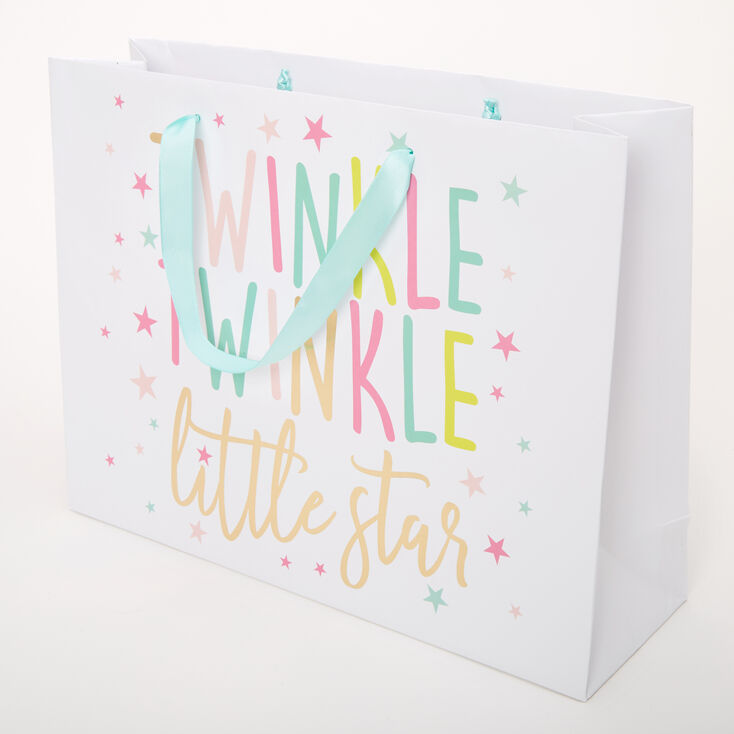 Medium Twinkle Twinkle Little Star Gift Bag - White,
