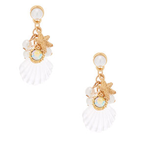 "Gold 1.5"" Shell Drop Earrings,"