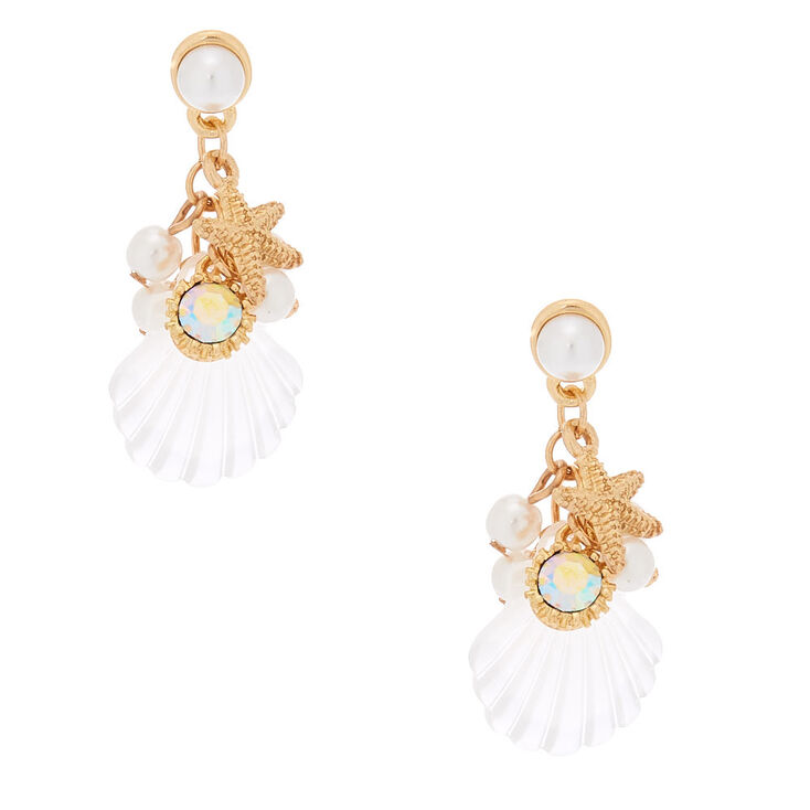 """Gold 1.5"""" Shell Drop Earrings,"""
