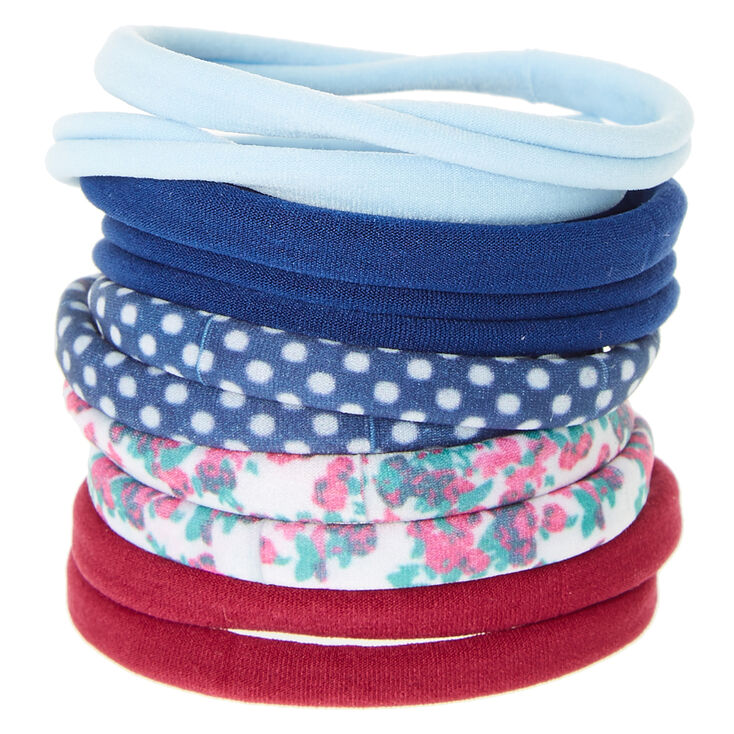 Floral & Polka Dot Rolled Hair Ties,