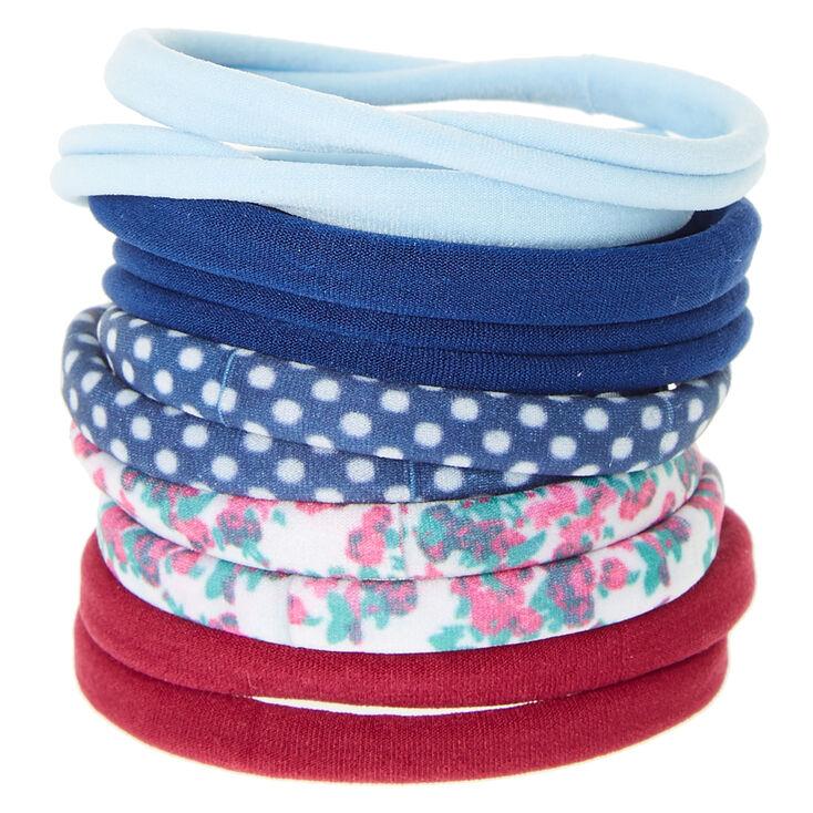 Floral & Polka Dot Rolled Hair Ties,