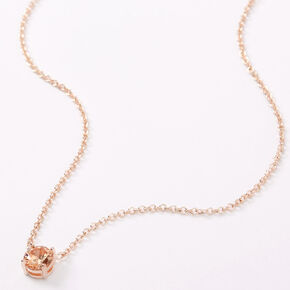 Rose Gold Cubic Zirconia 6MM Single Rhinestone Pendant Necklace,