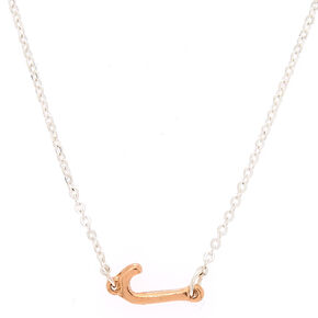 Mixed Metal Sideways Initial Pendant Necklace - J,