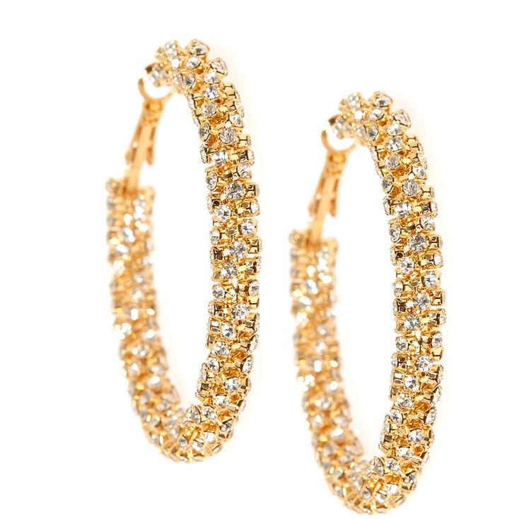 53MM Twisted Crystal Gold Hoop Earrings,
