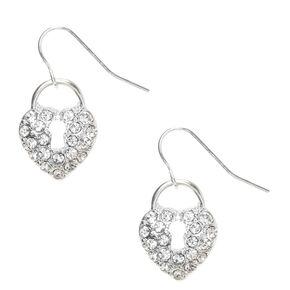 "Silver 1"" Crystal Lock Drop Earrings,"
