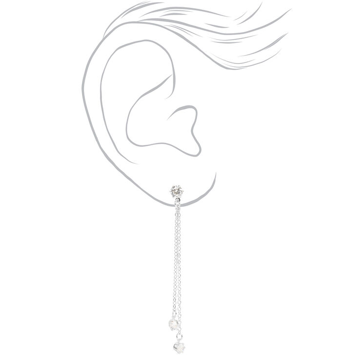 "Silver 2"" Cubic Zirconia Linear Drop Earrings,"