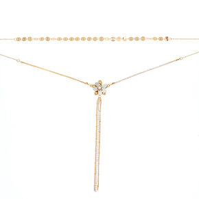 Gold Flower Multi Strand Necklace,