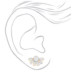 Gold Crystal Fan Stud Earrings - White,
