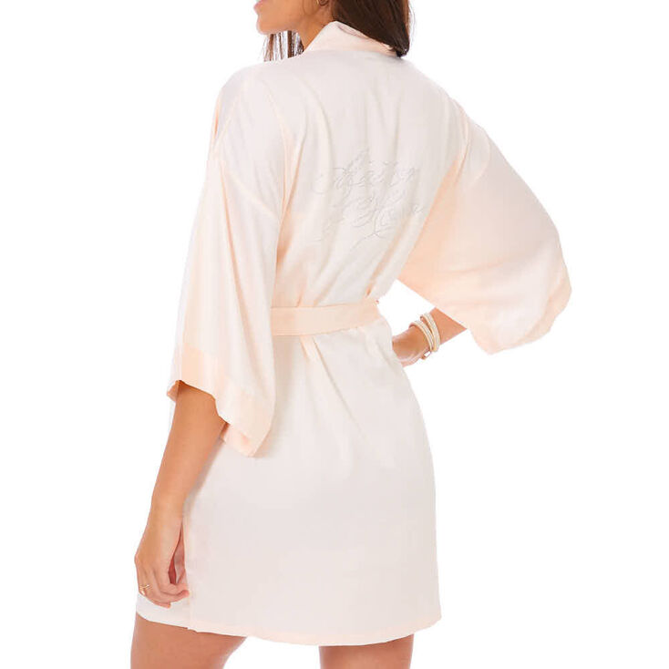 Light Pink Satin & Crystal Matron of Honor Robe - M/L,