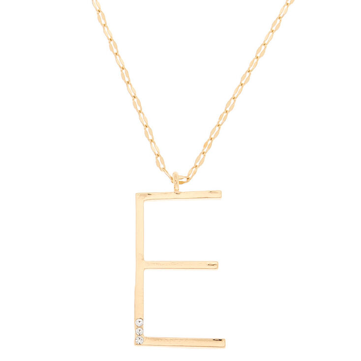 Gold Large Initial Pendant Necklace - E,