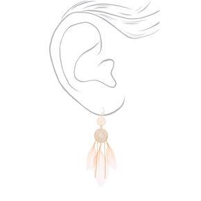 "Gold 3.5"" Filigree Dreamcatcher Feather Drop Earrings - Pink,"