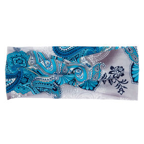 Paisley Print Knot Headwrap - Turquoise,