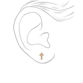18kt Gold Plated Crystal Cross Stud Earrings,