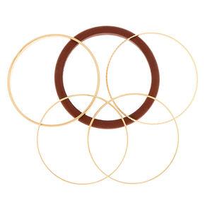 Gold Wooden Bangle Bracelets - 5 Pack,