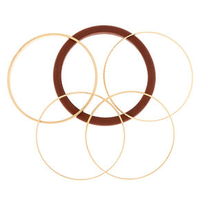 Gold Wooden Bangle Bracelets - 5 Pack,