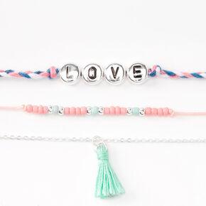 Pink & Mint Love Tassel Mixed Bracelets - 3 Pack,