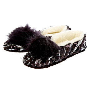 Reversible Sequin Snakeskin Slippers - Black,