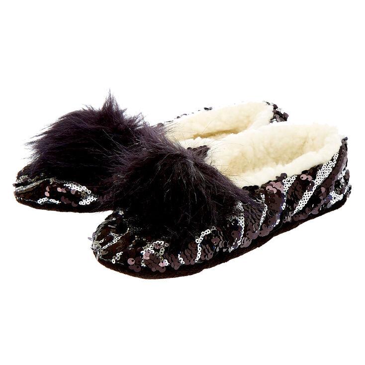 Reversible Sequin Snakeskin Slippers - Black,