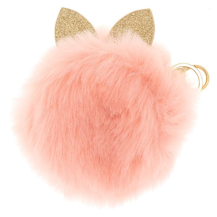 Faux Fur Cat Ears Coin Purse - Pink,