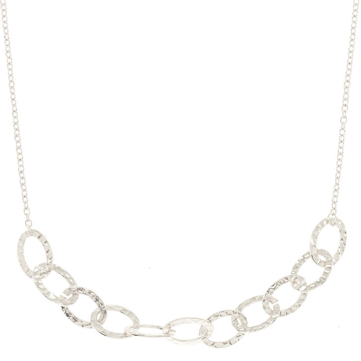 Silver Hammered Circle Chain Statement Necklace,