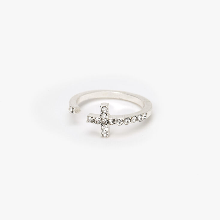 Silver Embellished Open Cross Midi Ring,