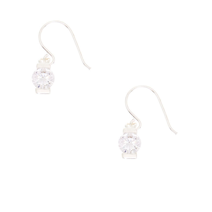 Sterling Silver Faux Crystal Drop Earrings,