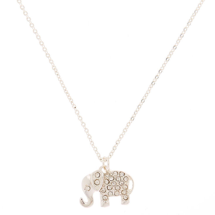 Silver Embellished Elephant Pendant Necklace,