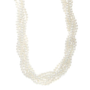 Twisted Ivory Pearl Necklace,