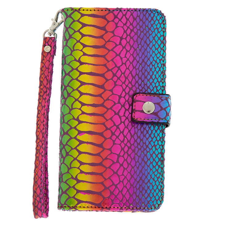 Metallic Rainbow Snake Skin Folio Phone Case - Fits iPhone 6/7/8 Plus,