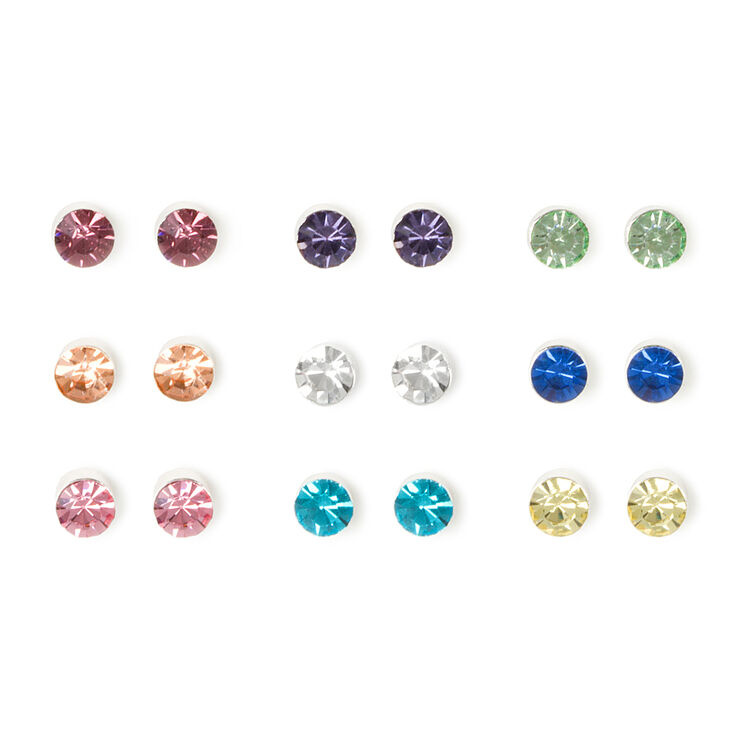 Bezel Set Pastel Crystal Stud Earrings Set of 9,