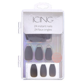 Dark Gray Matte Finish Coffin Instant Nails,