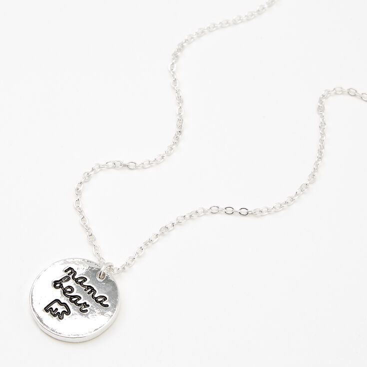 Silver Mama Bear Pendant Necklace,