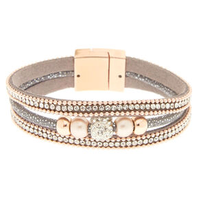 Gray & Rose Gold Layered Bracelet,