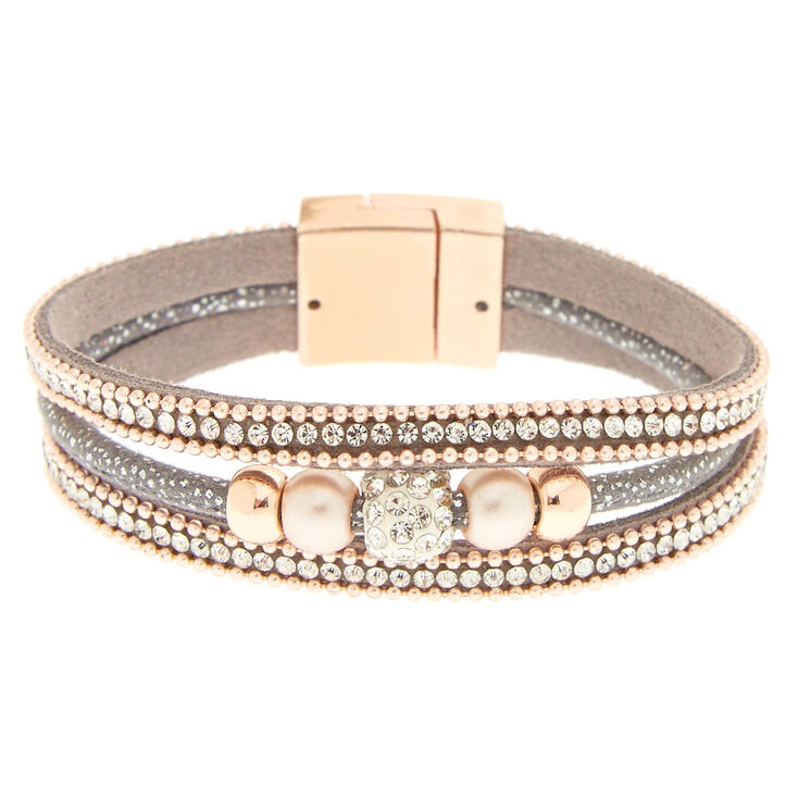 Gray & Rose Gold Layered Bracelet,
