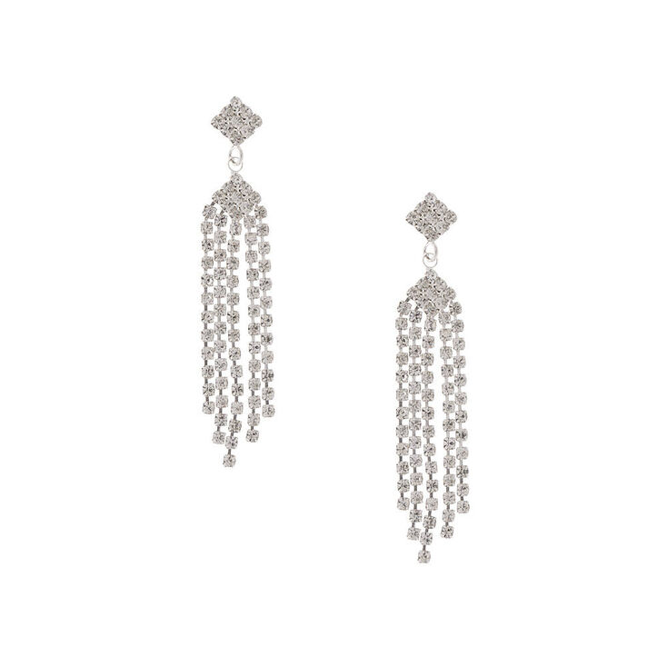 Vintage Rhinestone Diamond & Fringe Drop Earrings,