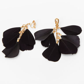 """Gold 3"""" Six Feather Clip On Drop Earrings - Black,"""