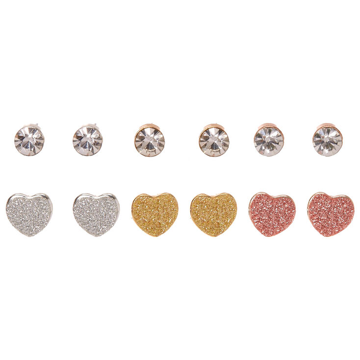 Mixed Metal Glitter Heart & Faux Crystal Stud Earrings,