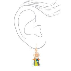 "Gold 2"" Filigree Tassel Beaded Drop Earrings,"