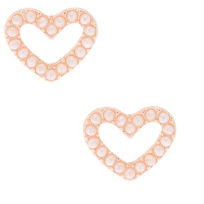 Rose Gold, Crystal & Pearl Heart Stud Earrings - Pink,