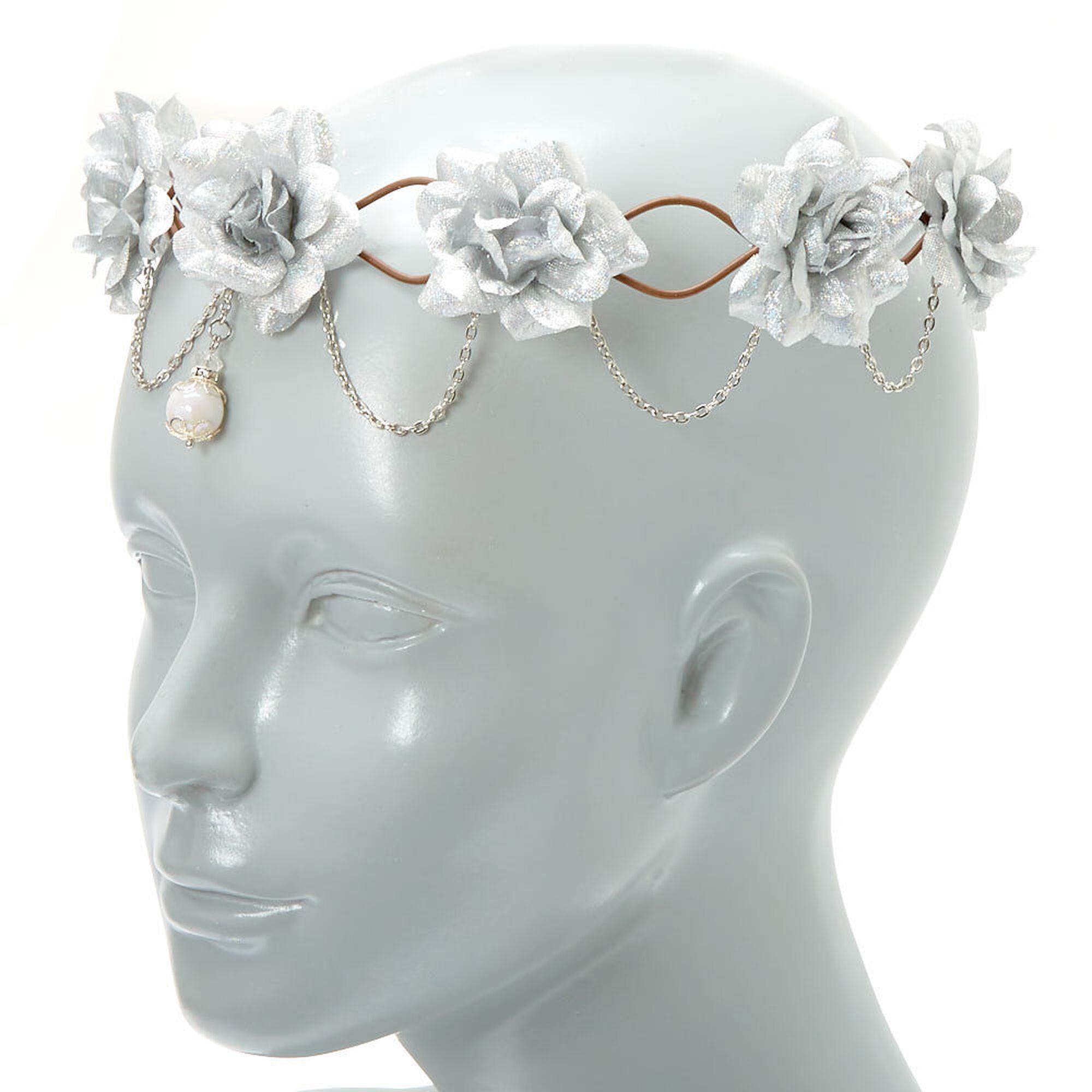 Silver flowers chains flower crown headwrap icing us silver flowers amp chains flower crown headwrap izmirmasajfo